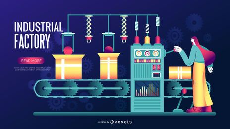 Ilustración digital de fábrica industrial