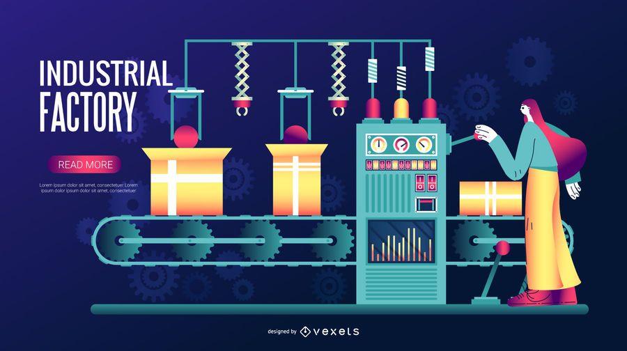 Industrial Factory Digital Illustration