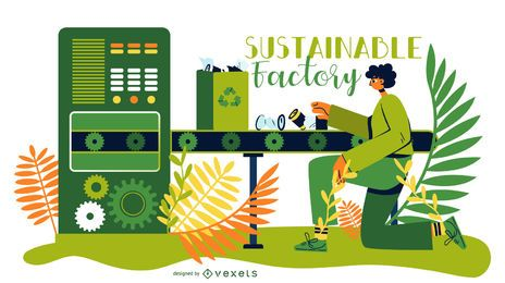 Ilustração de fábrica de energia sustentável