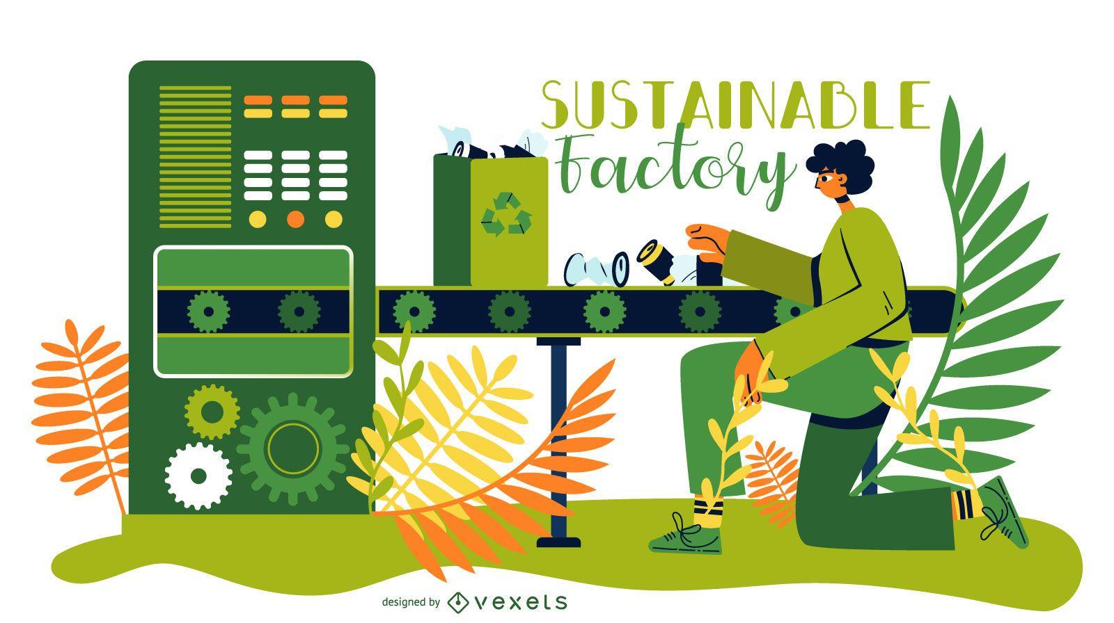Ilustración de fábrica de energía sostenible