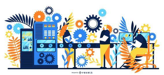 Linha de fábrica com ilustração de trabalhadores