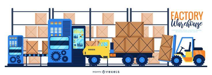 Ilustración digital de almacén de fábrica