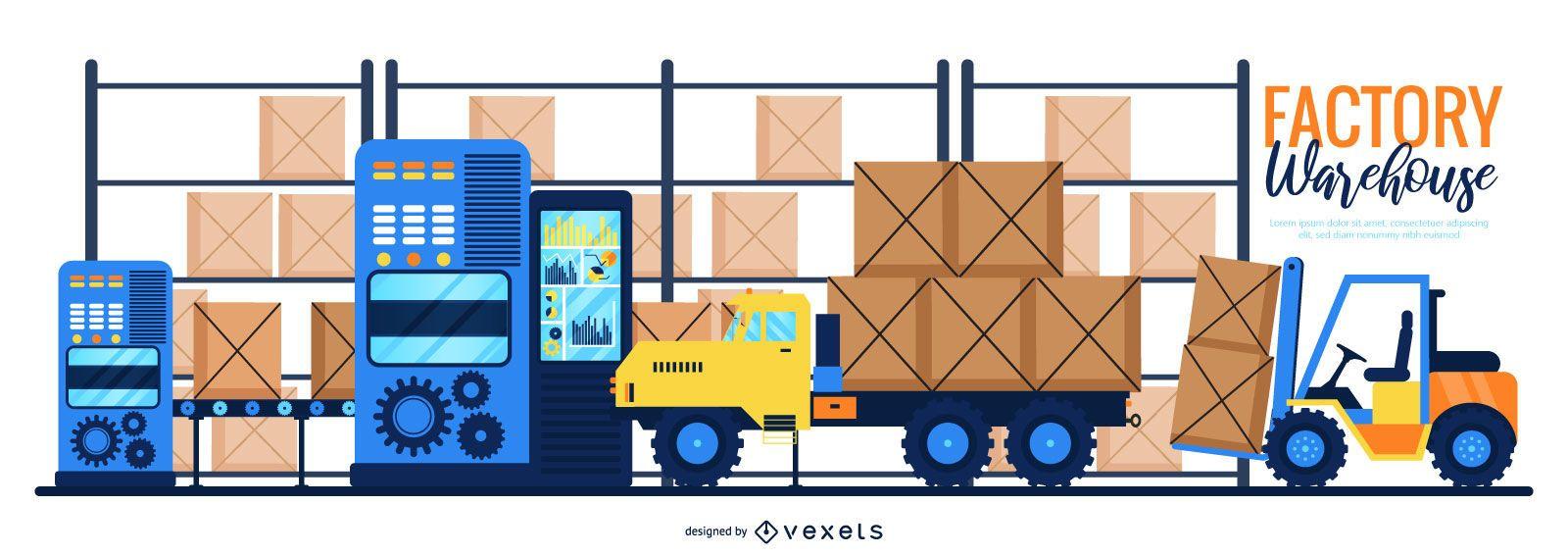 Factory Warehouse Digital Illustration