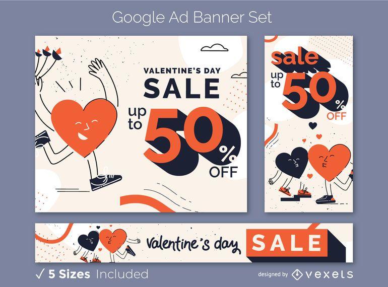 Valentine's ad banner set
