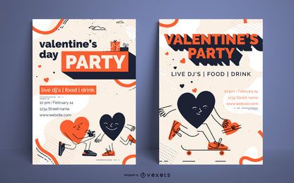 Conjunto de cartaz de festa dos namorados