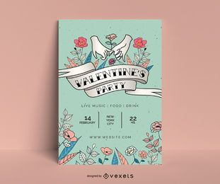 Valentine's party poster template