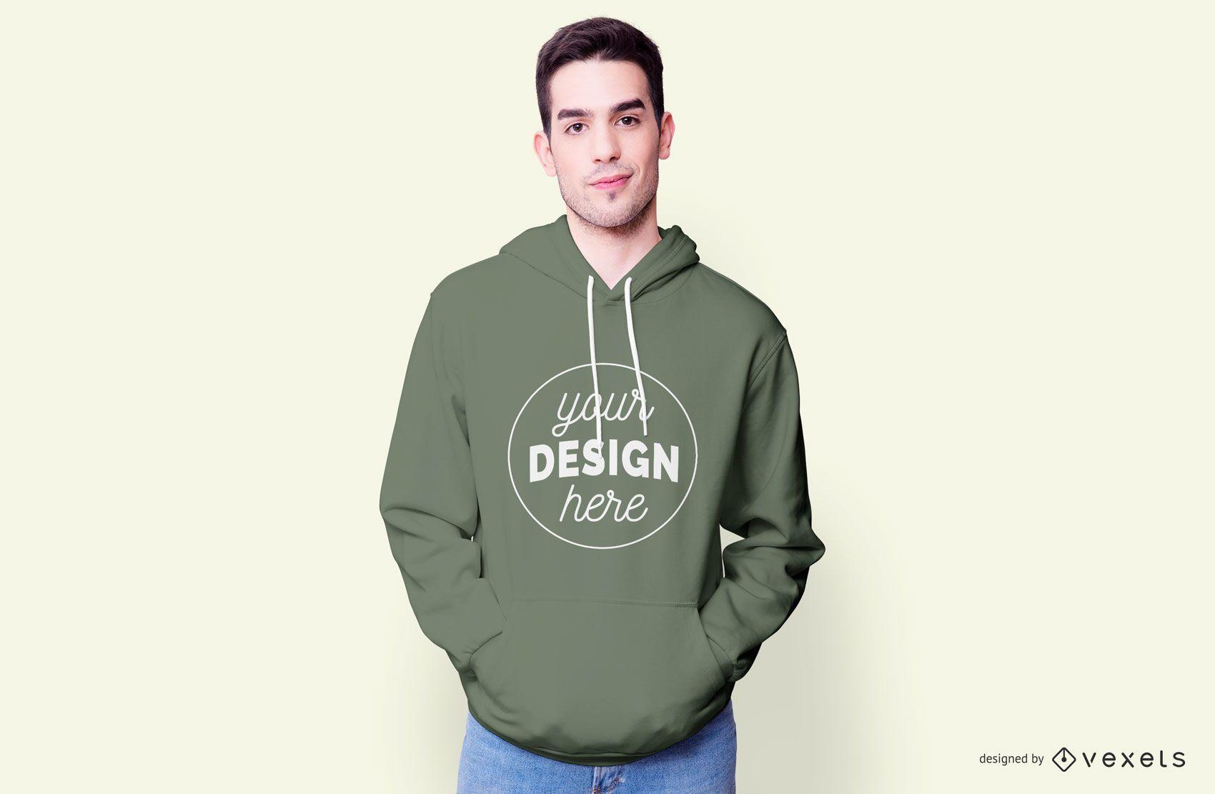 Guy wearing hoodie mockup