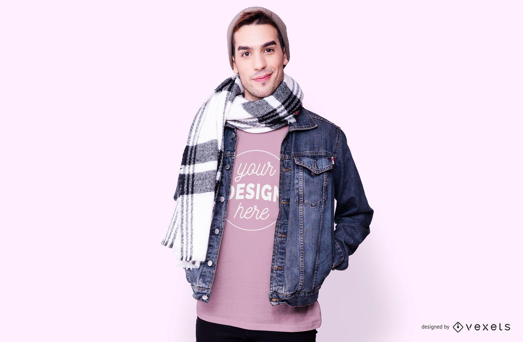 Maquete de camiseta de modelo masculino
