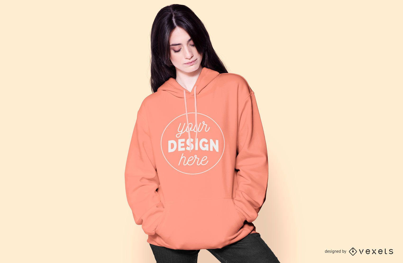 Woman with hoodie mockup