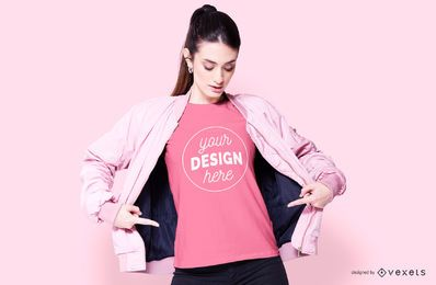 Model wearing pink clothes mockup