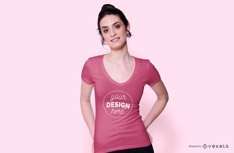 Girl wearing pink t-shirt mockup