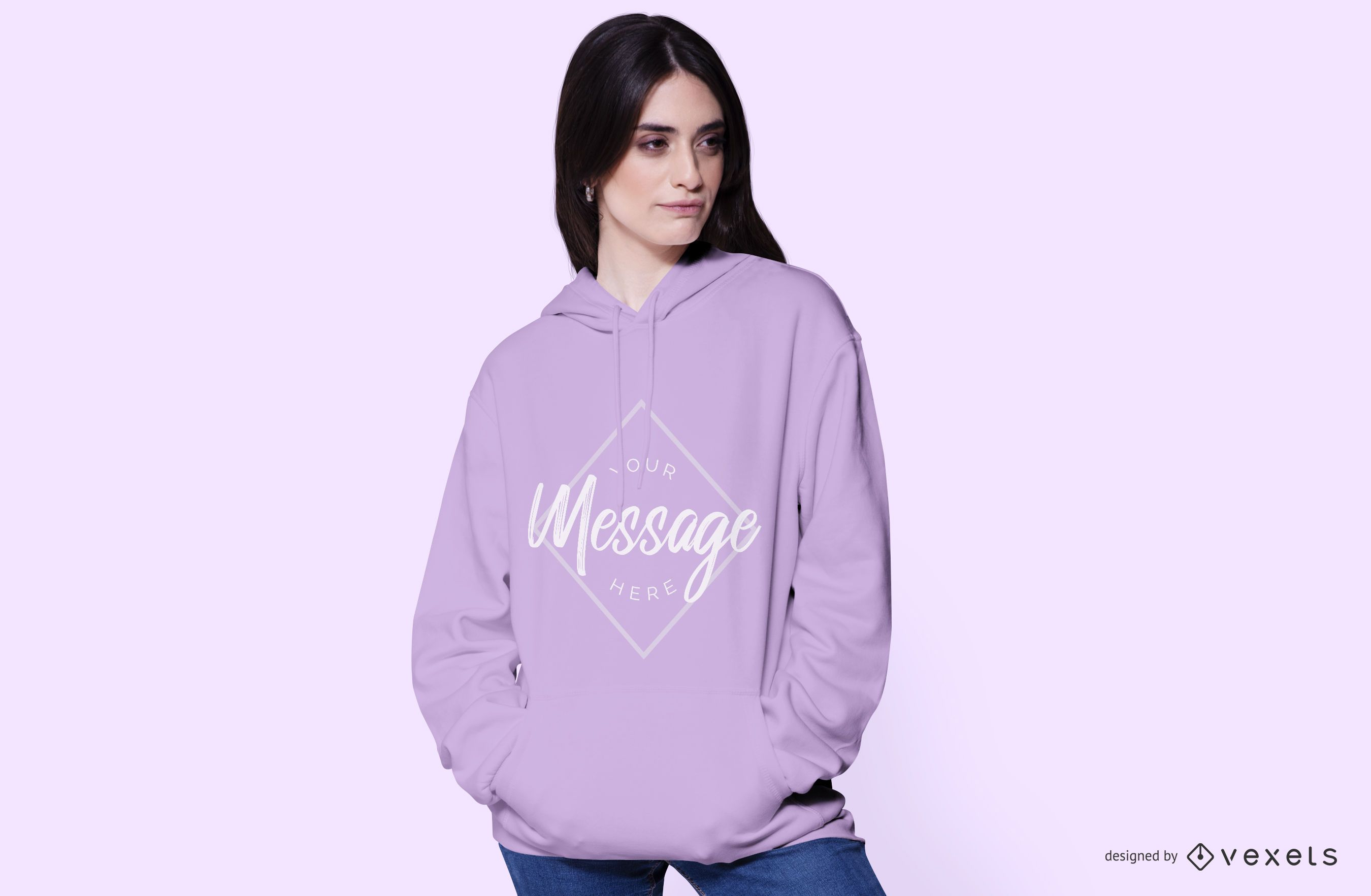 Young woman wearing a hoodie mockup
