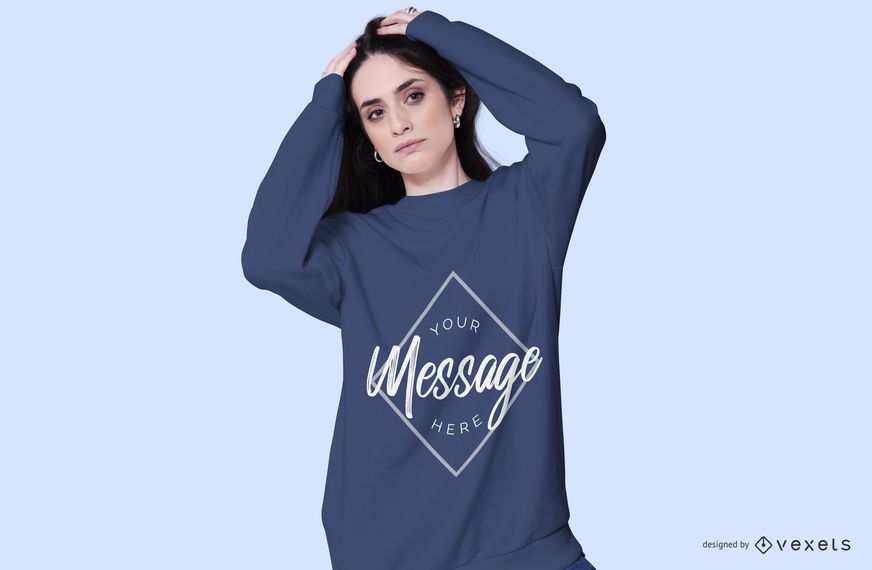 Woman wearing sweatshirt mockup