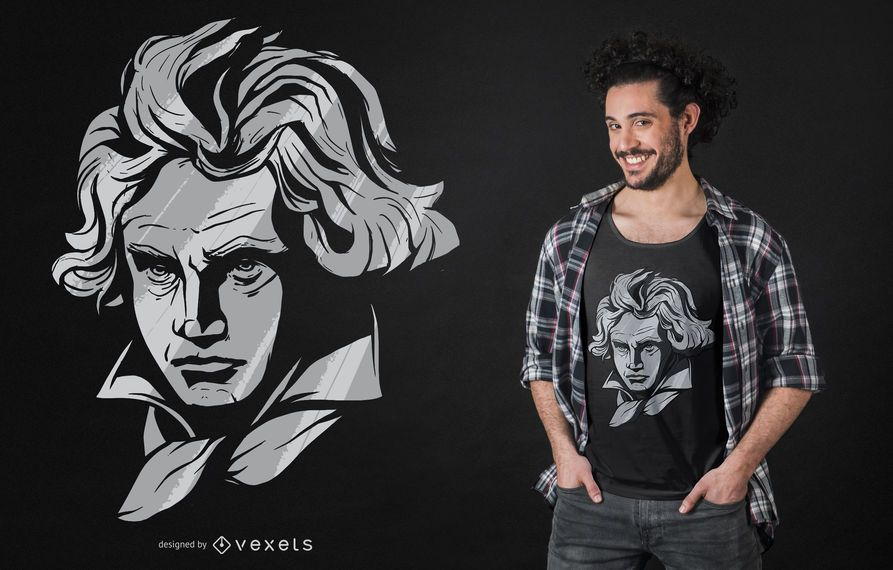 Diseño de camiseta de la cara de Beethoven