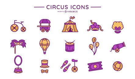 Colección de iconos de circo