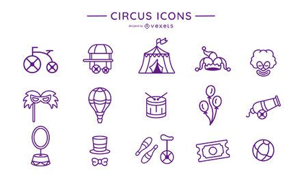 Circus stroke icon collection