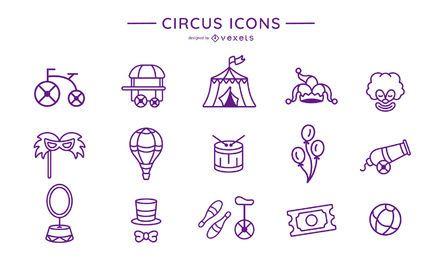 Colección de iconos de trazo de circo