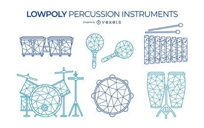 Low poly percussion instruments set