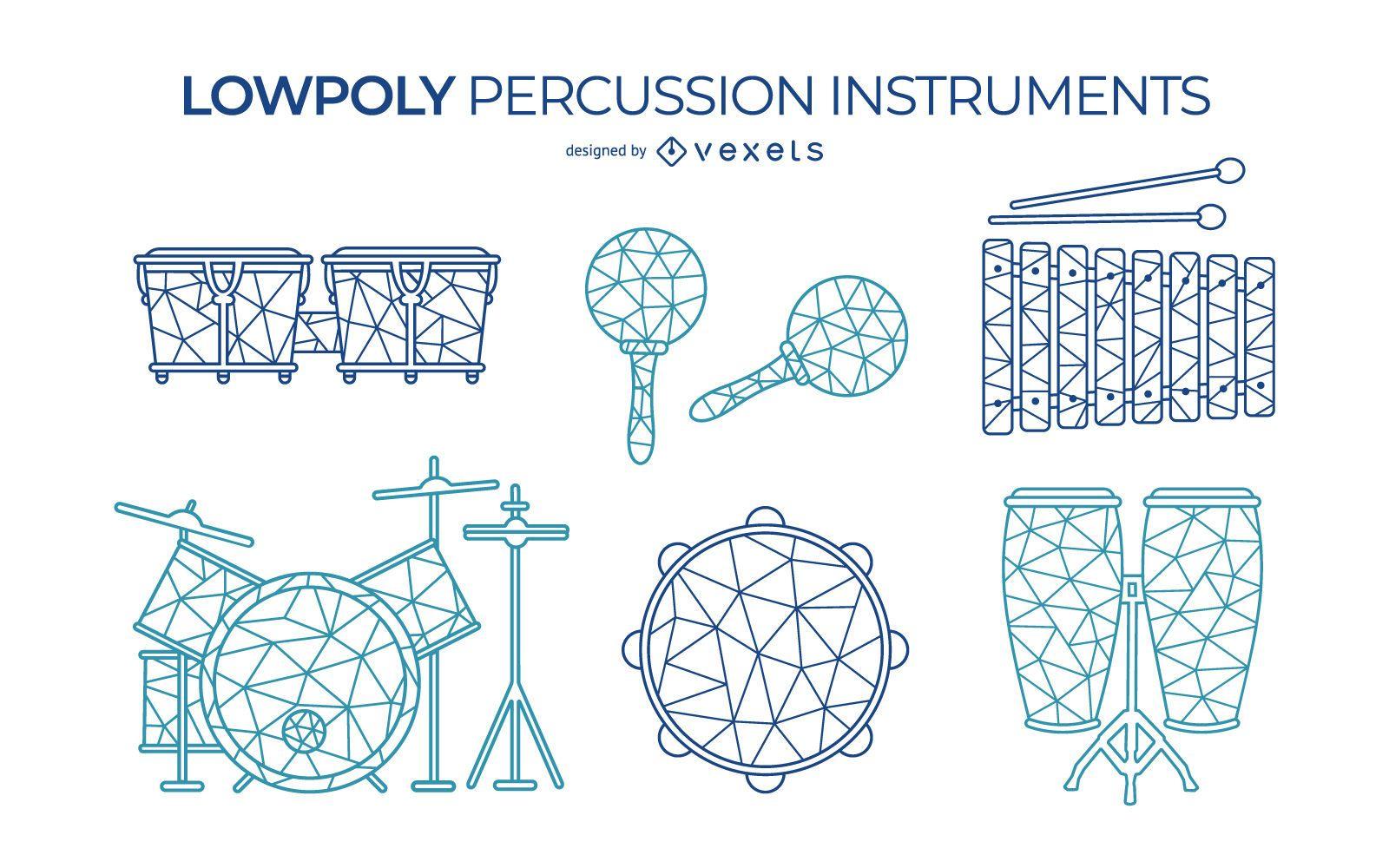 Set de instrumentos de percusión low poly