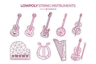 Conjunto de instrumentos de cordas low poly