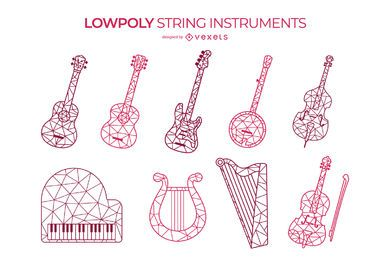 Low poly string instruments set