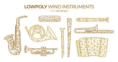 Low poly wind instruments set