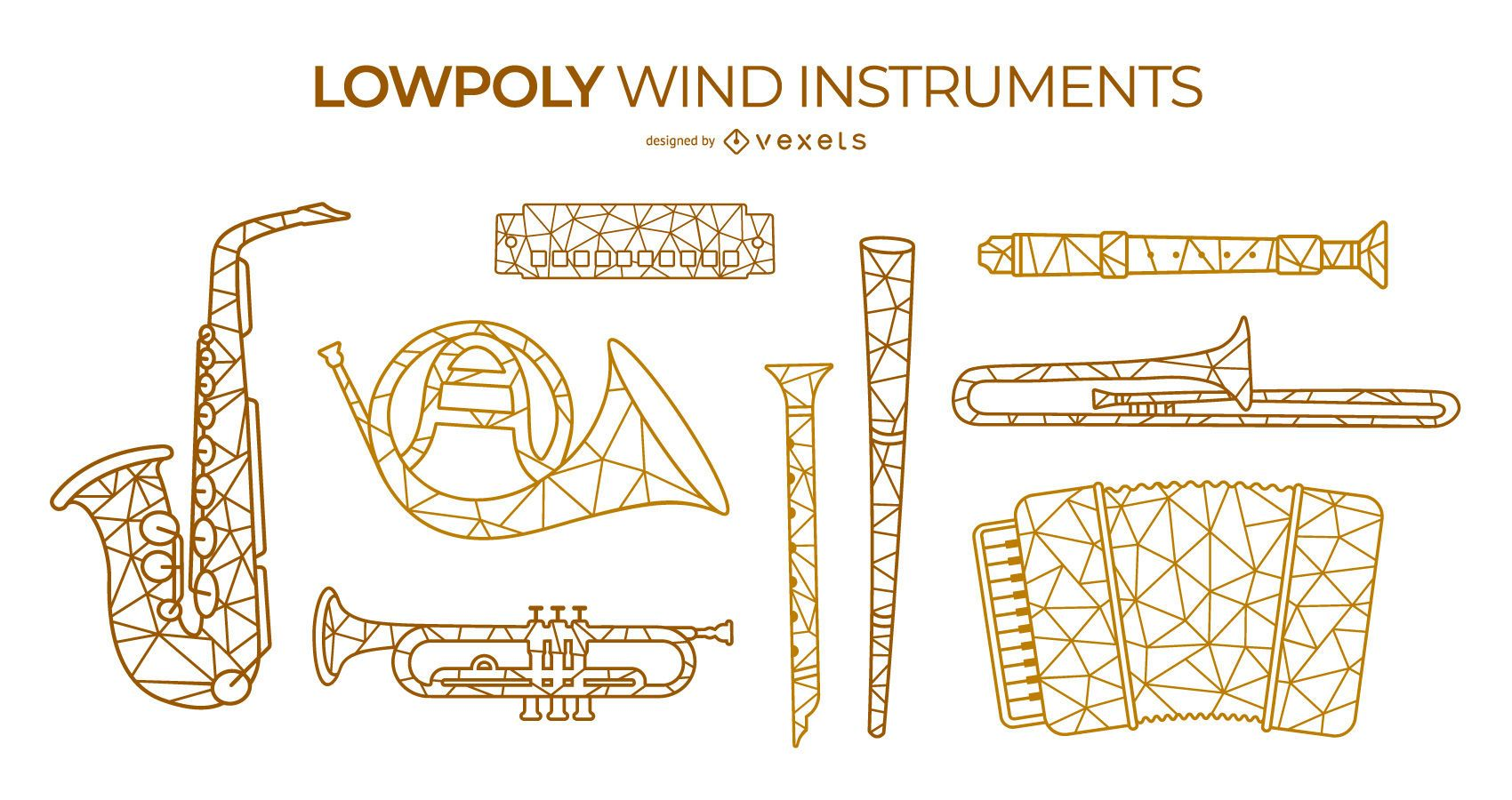 Set de instrumentos de viento low poly