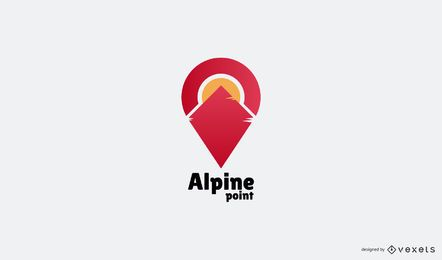 Plantilla de logotipo de montaña alpina