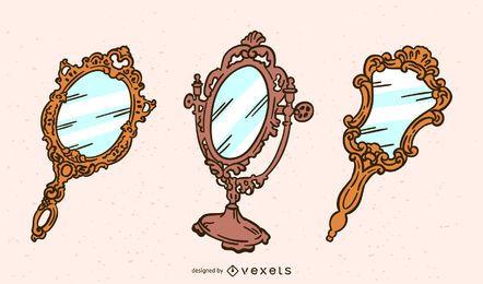 Conjunto de espejos de mano vintage