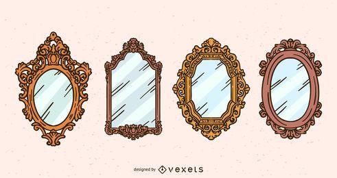 Conjunto de ilustração de espelho antigo