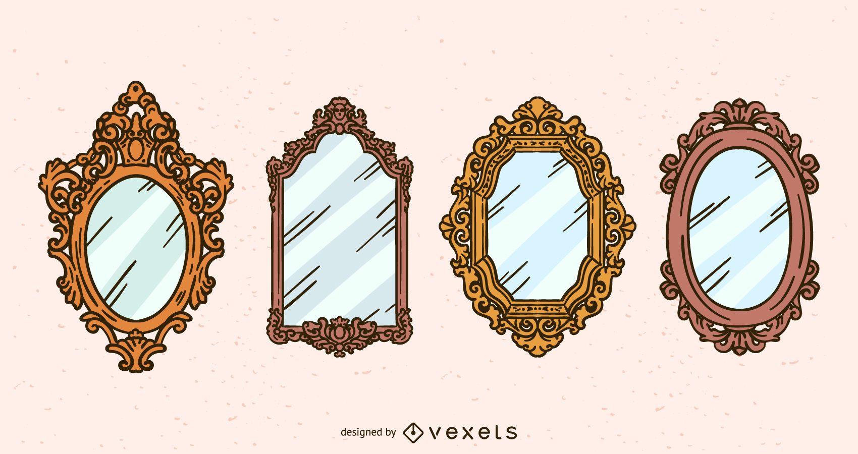 Conjunto de ilustración de espejo antiguo