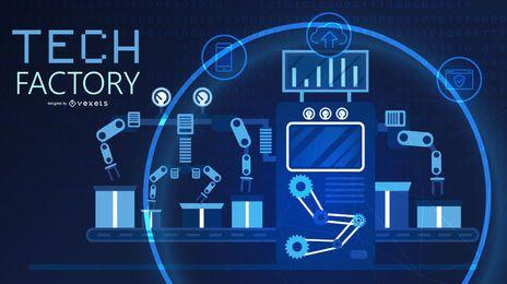 Design gráfico do conceito de fábrica de tecnologia