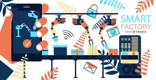 Gráfico de diseño plano de Smart Factory