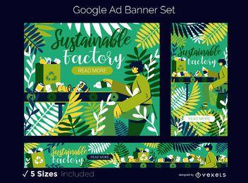 Conjunto de banner de anúncio do Google da fábrica ecológica