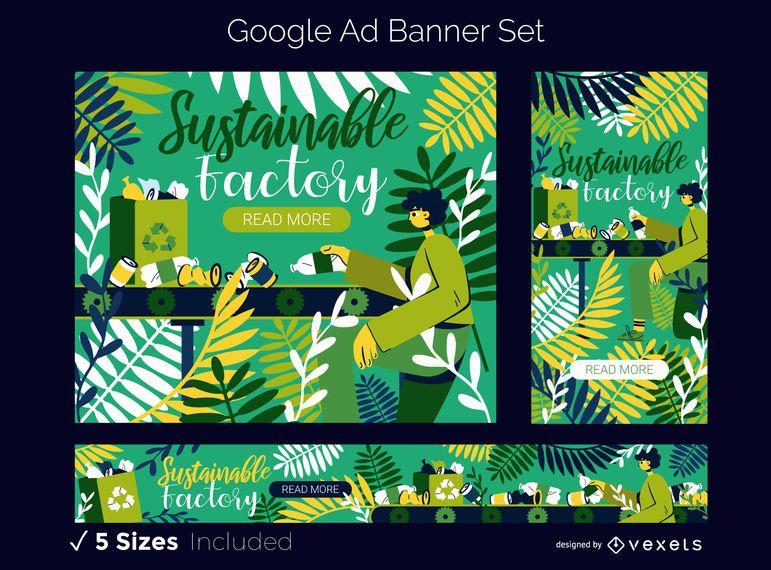 Conjunto de banners publicitarios de Google Eco Factory