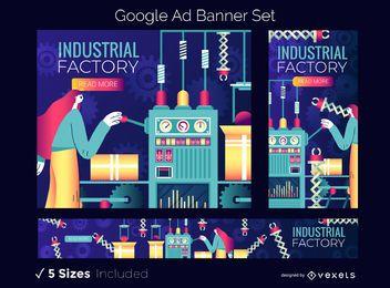 Conjunto de banners de anuncios industriales de Google Factory
