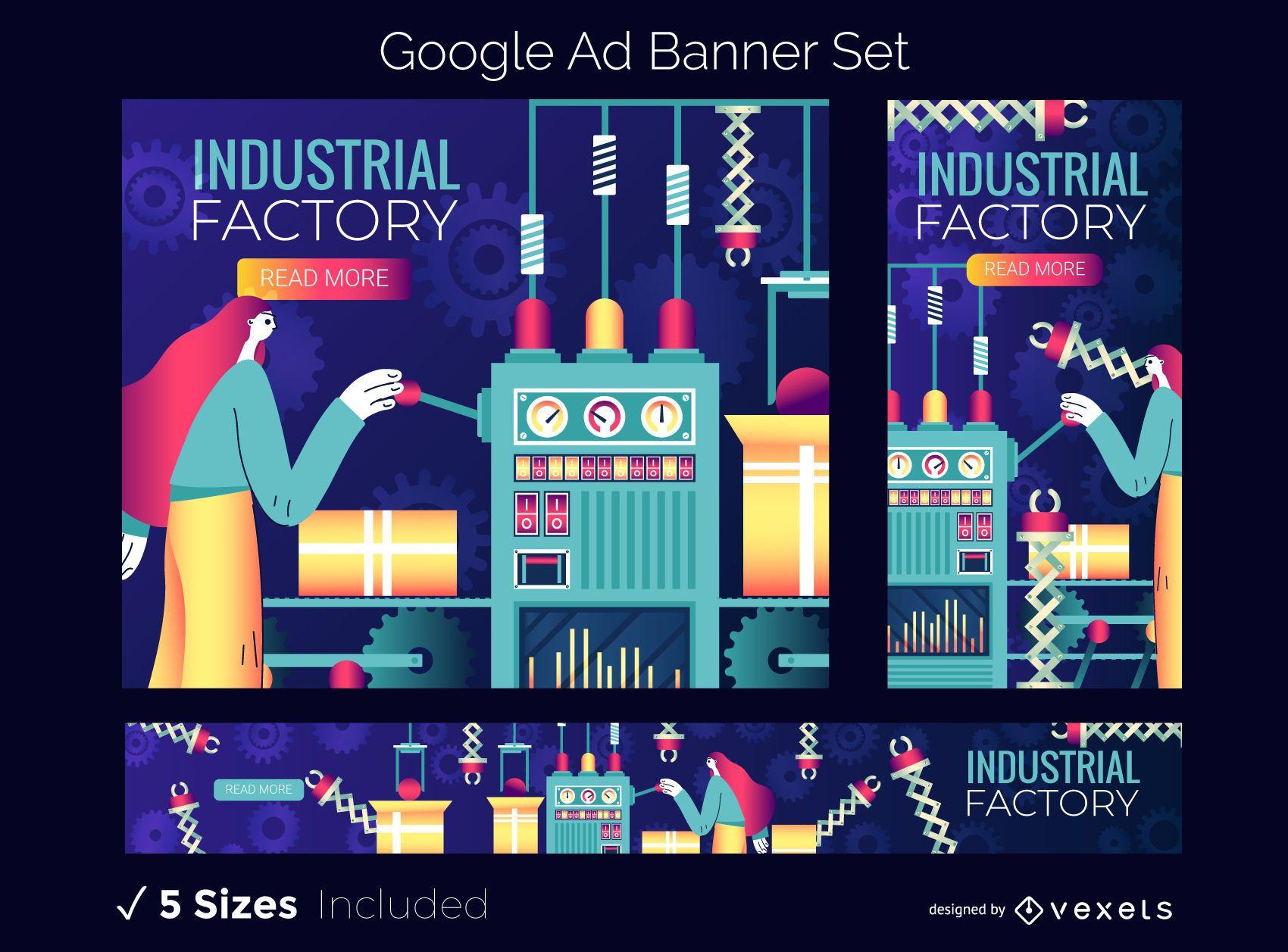 Conjunto de banners do Google Ads para fábrica industrial