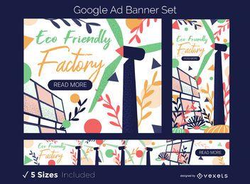 Conjunto de banner de anúncio de fábrica ecológica