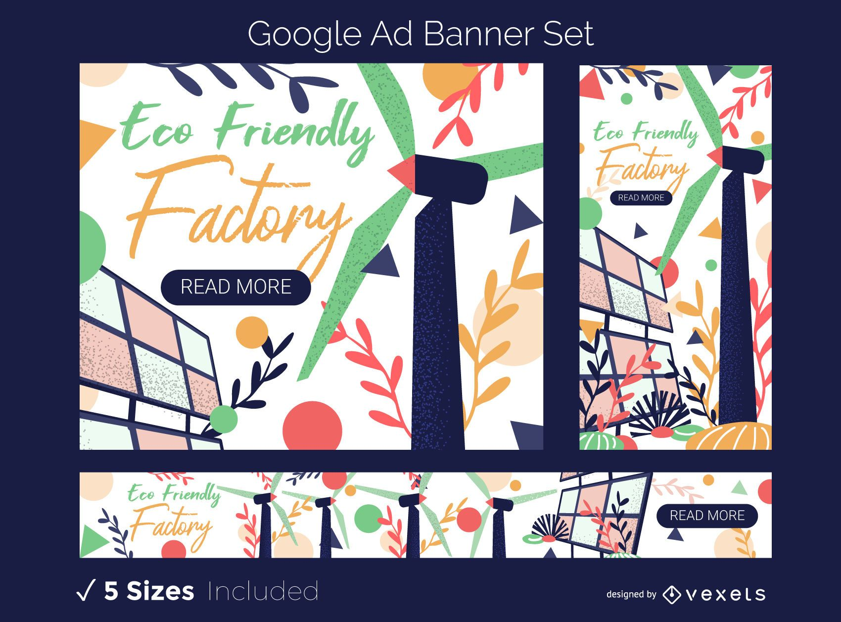 Eco Friendly Factory Ad Banner Set