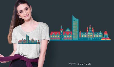 Diseño de camiseta del skyline de Leipzig