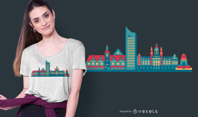 Design de camiseta do horizonte de Leipzig
