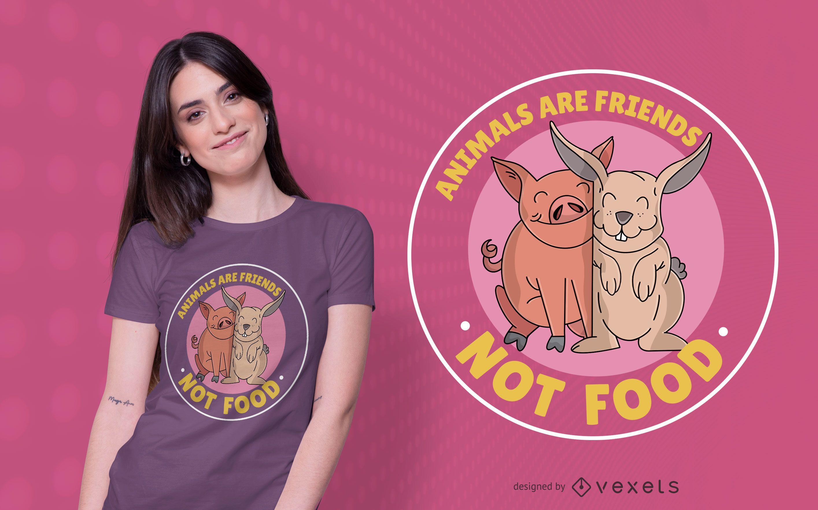 Diseño de camiseta de animales son amigos.