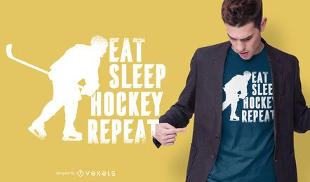 Eat sleep hockey diseño de camiseta