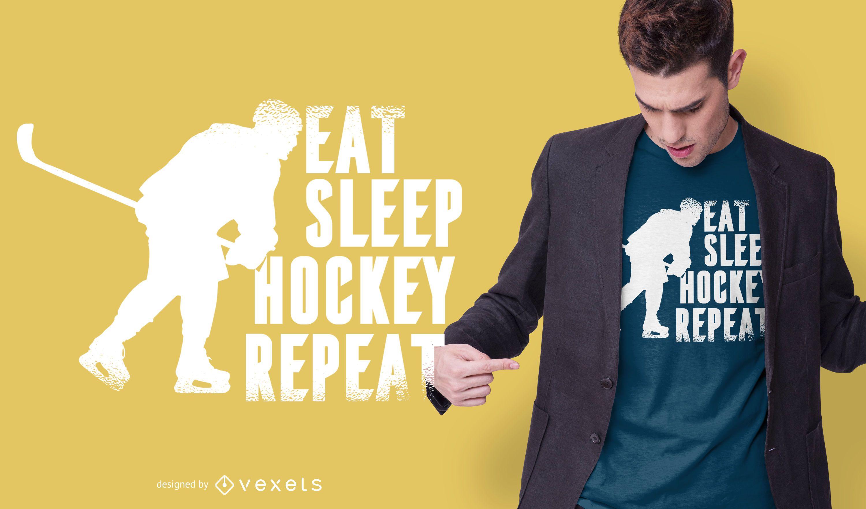Eat sleep hockey diseño de camiseta