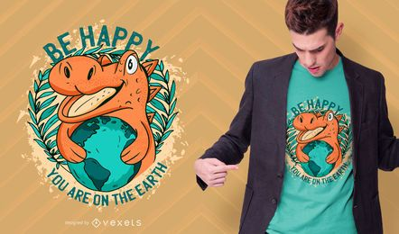 Diseño de camiseta de dinosaurio feliz