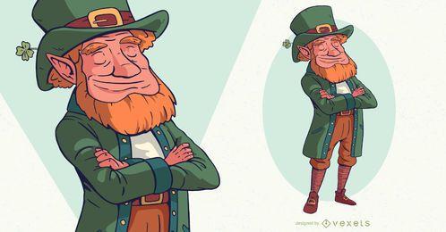St patrick's leprechaun character design