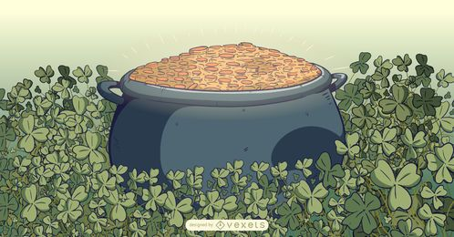 Ilustración de olla de oro de duende