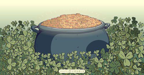 Pote de duende de ilustração de ouro