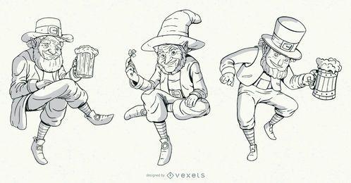 Conjunto de personajes de duende dibujados a mano