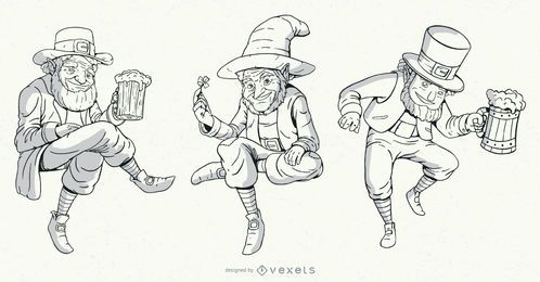 Hand drawn leprechaun characters set